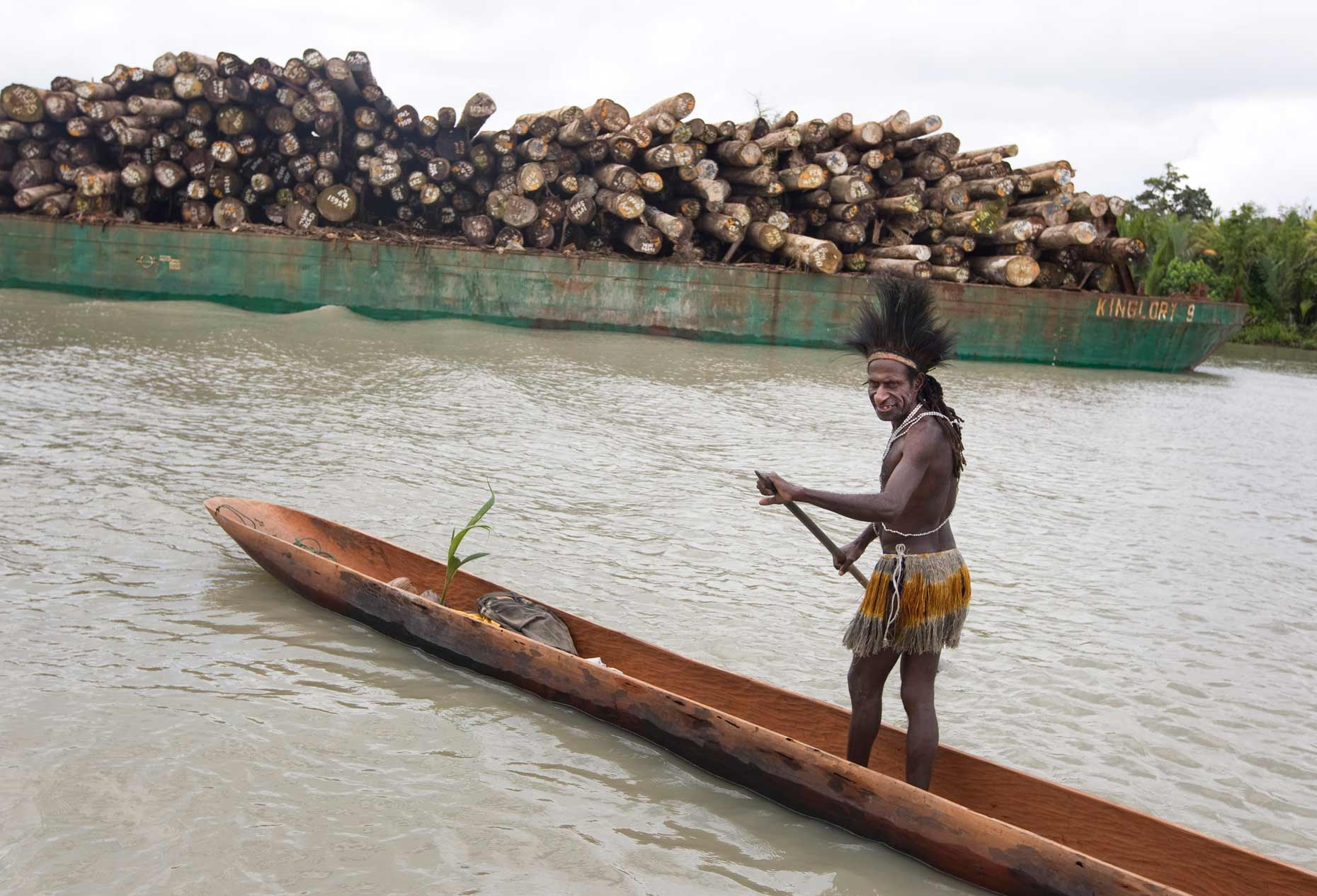 illegal logging and indigenous man, by Scotland Greenpeace photographer
