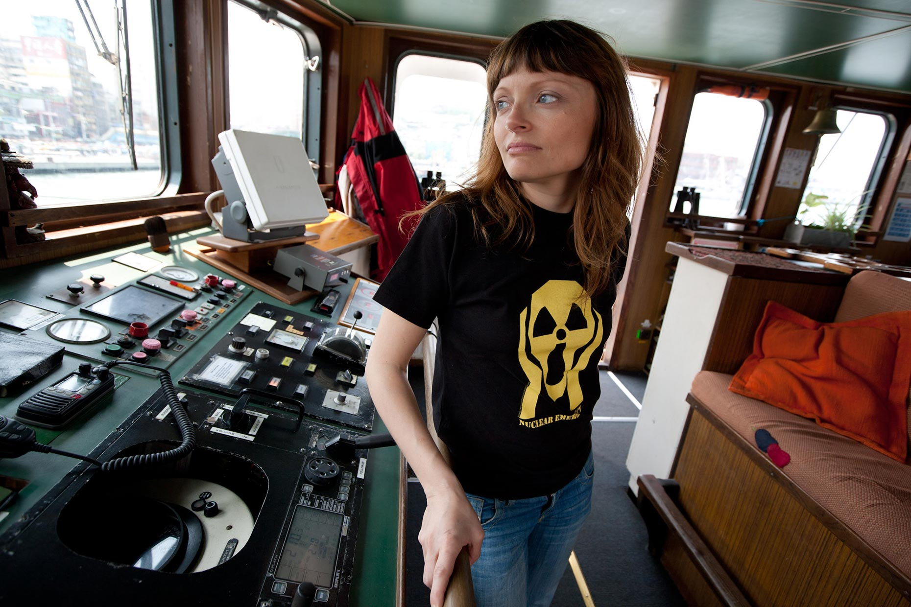 Aboard the Greenpeace ship Rainbow Warrior, by Scotland photographer