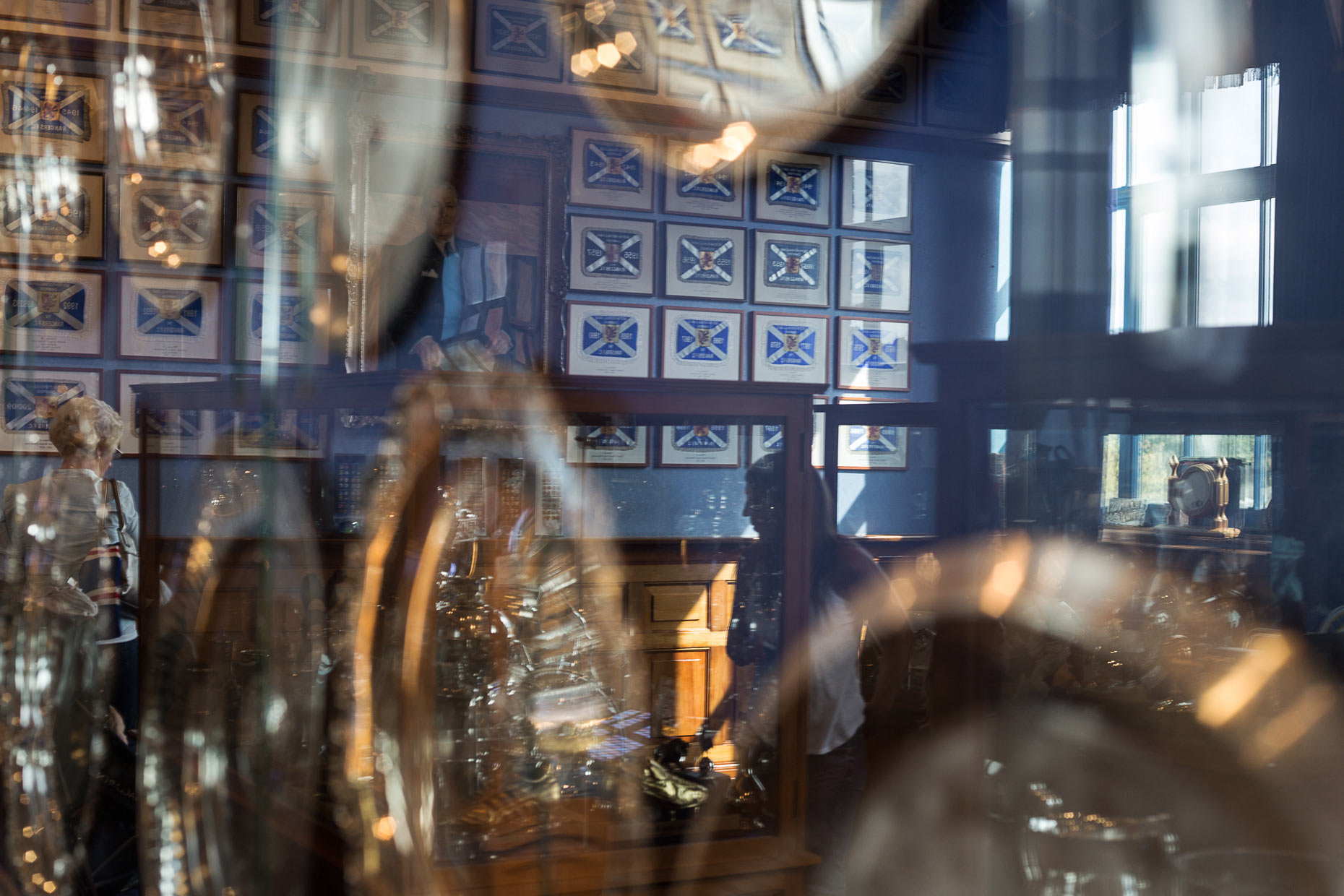Rangers FC trophy room at Ibrox Stadium, Scotland, by photographer Sutton-Hibbert
