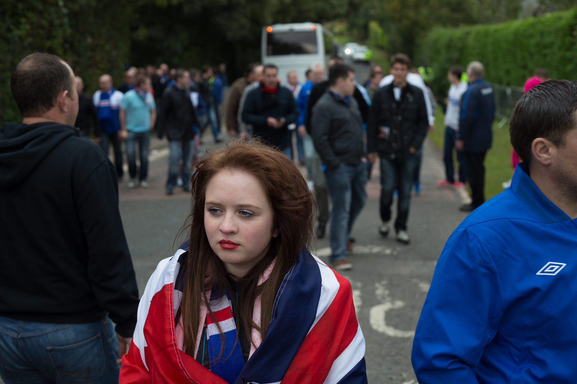 Rangers football fans in Annan, Scotland, by photographer Sutton-Hibbert