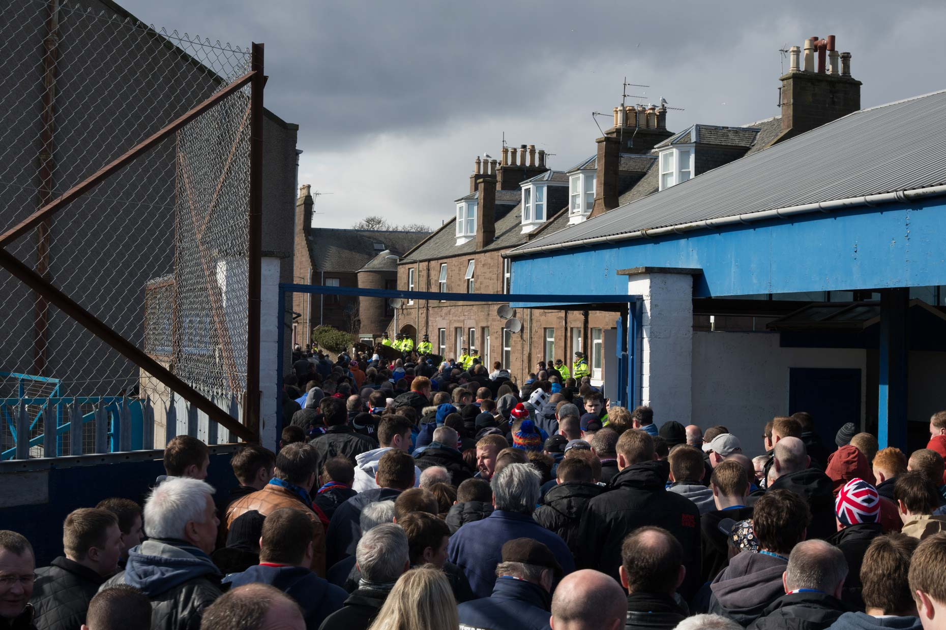 Rangers FC football fans in Montrose, Scotland, by photographer Sutton-Hibbert