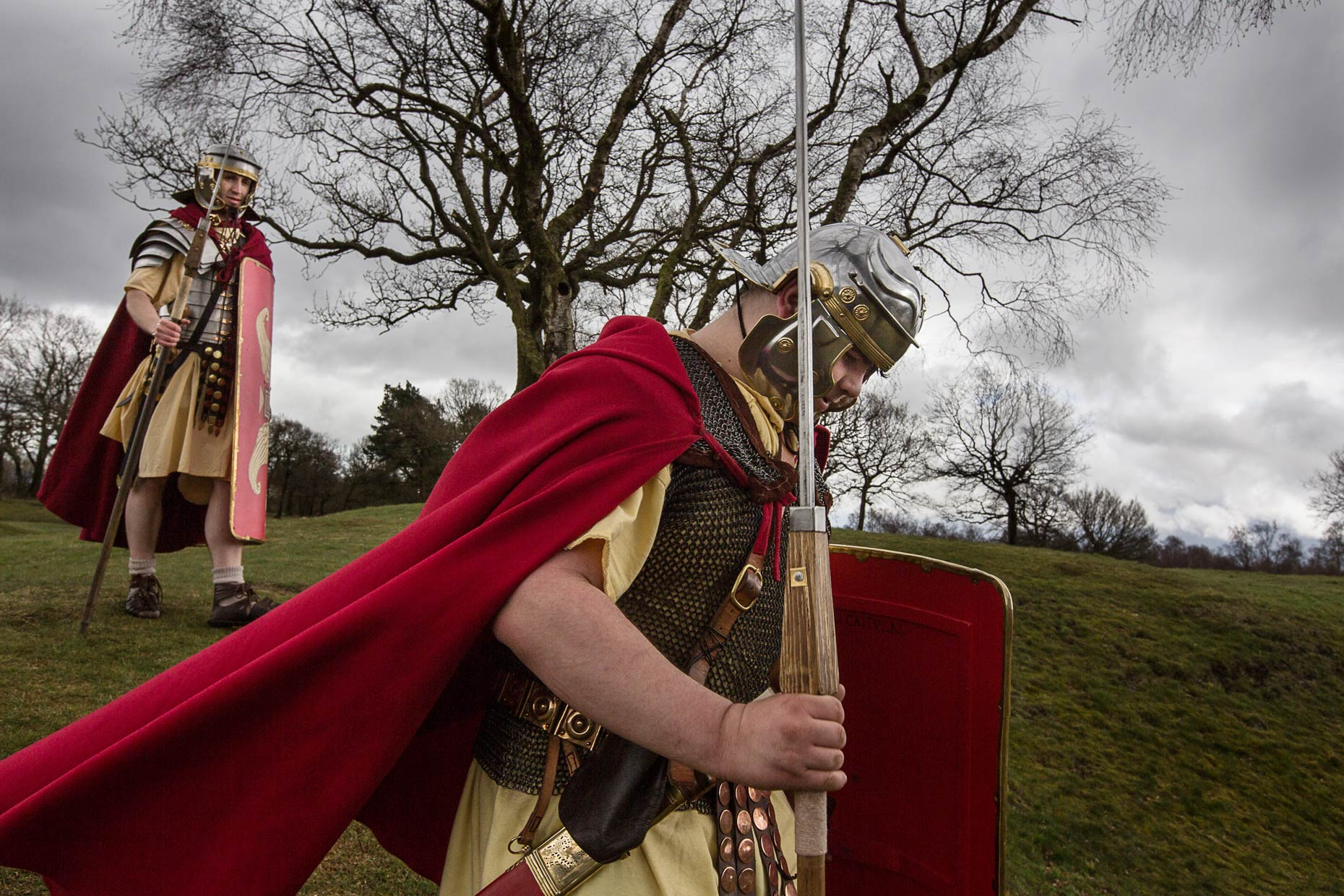 Antonine Wall soldiers Scotland, by Glasgow photographer Sutton-Hibbert