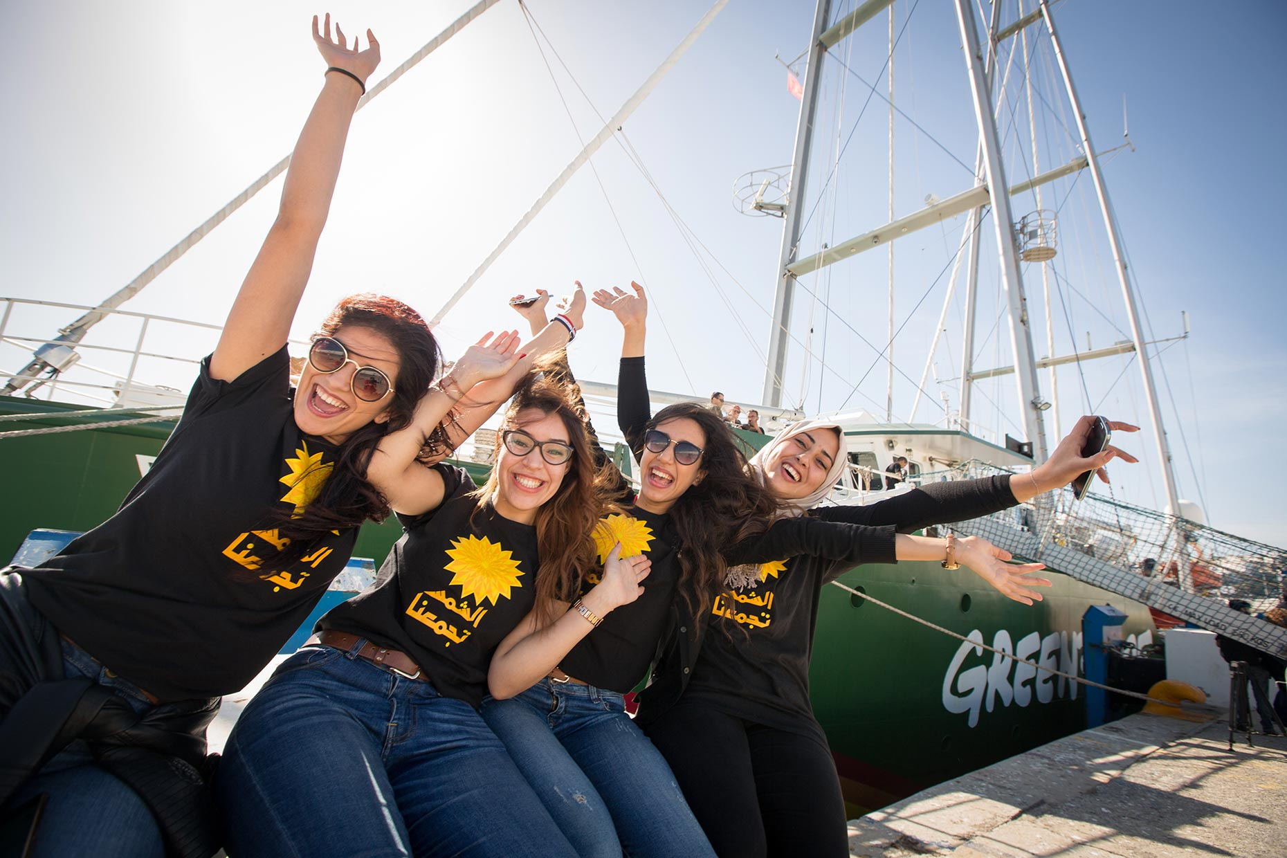 Greenpeace ship Rainbow Warrior and activists, by Scotland Greenpeace photographer