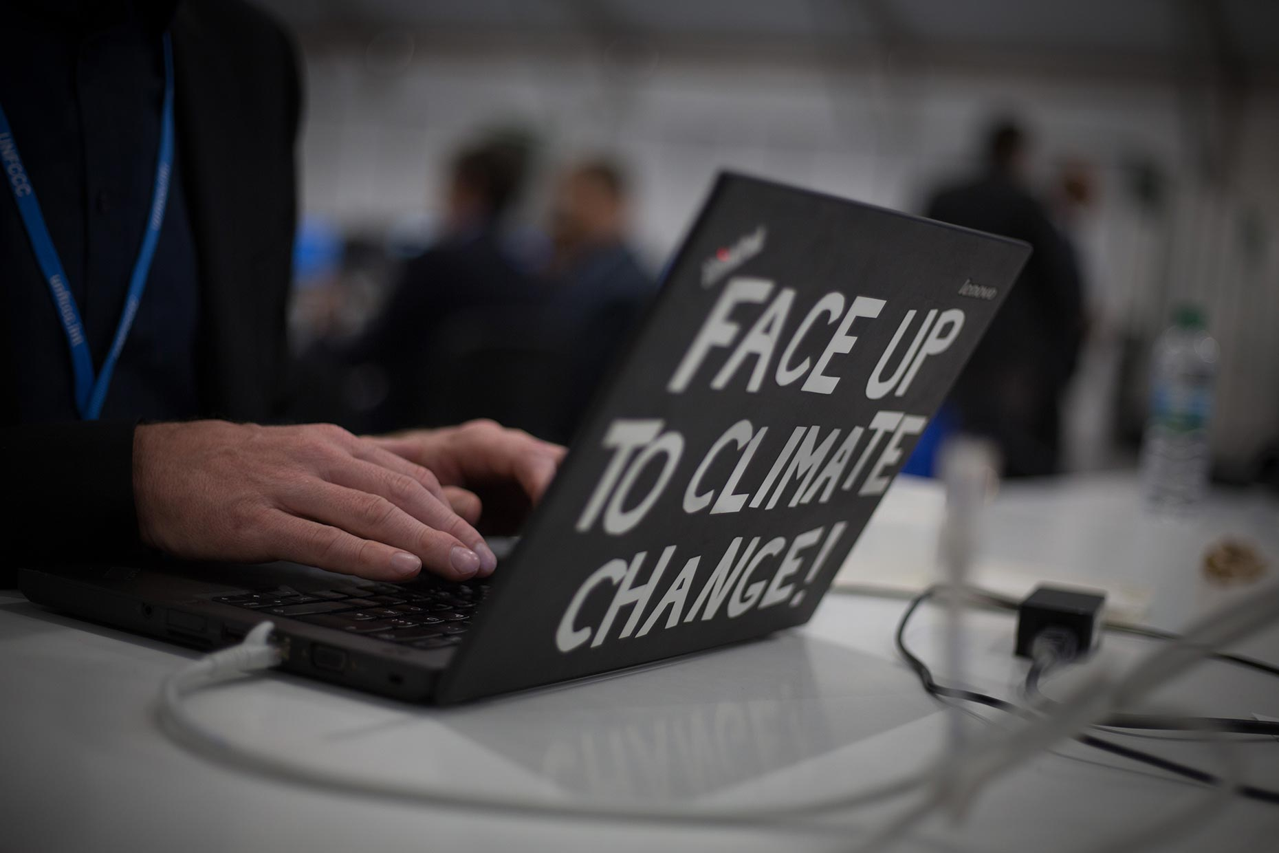 Climate Change on laptop, by Scotland Greenpeace photographer