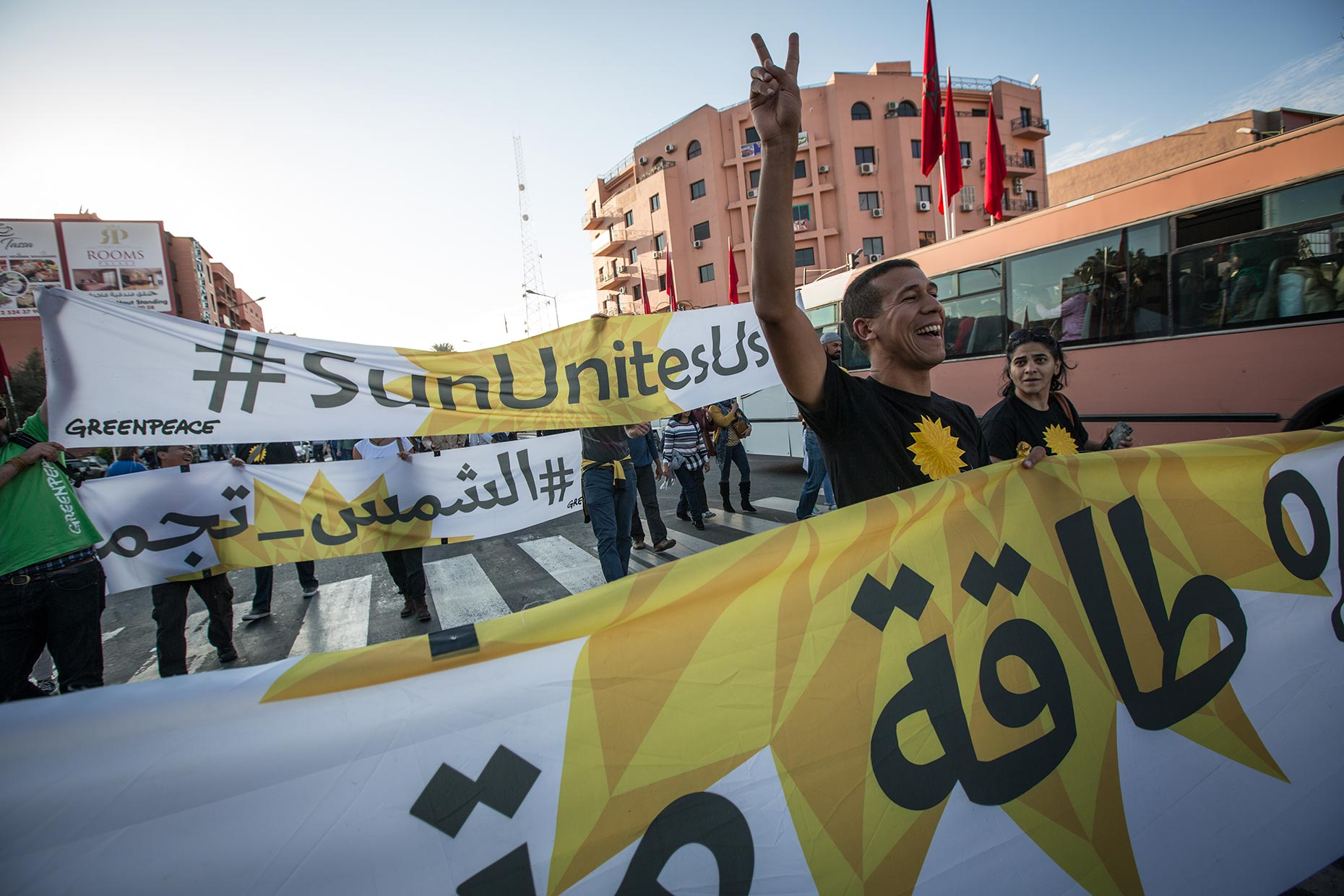 Greenpeace demonstration in Morocco, by Scotland photographer