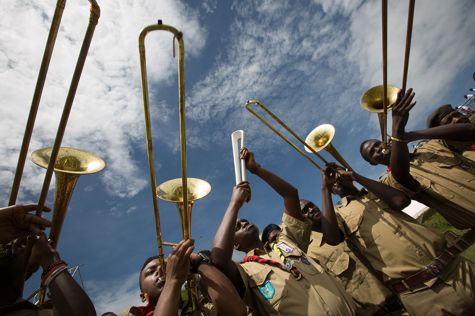 School band play brass instruments in Uganda, by Scotland photographer