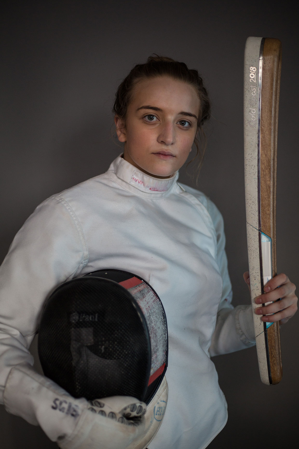 Portrait of fencer in Northern Ireland by Scottish photographer