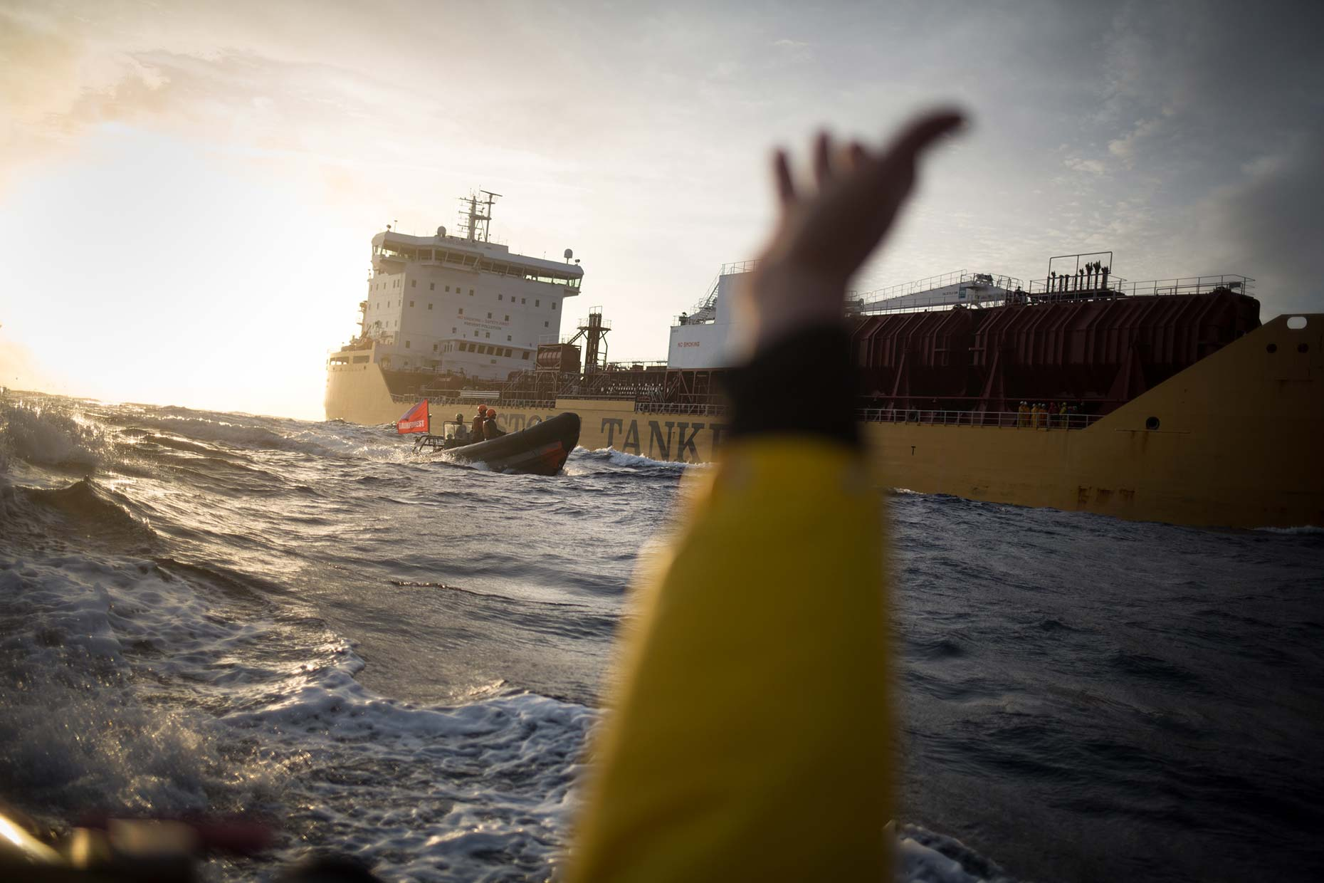 Greenpeace anti-palm oil action at sea, by Scotland photographer