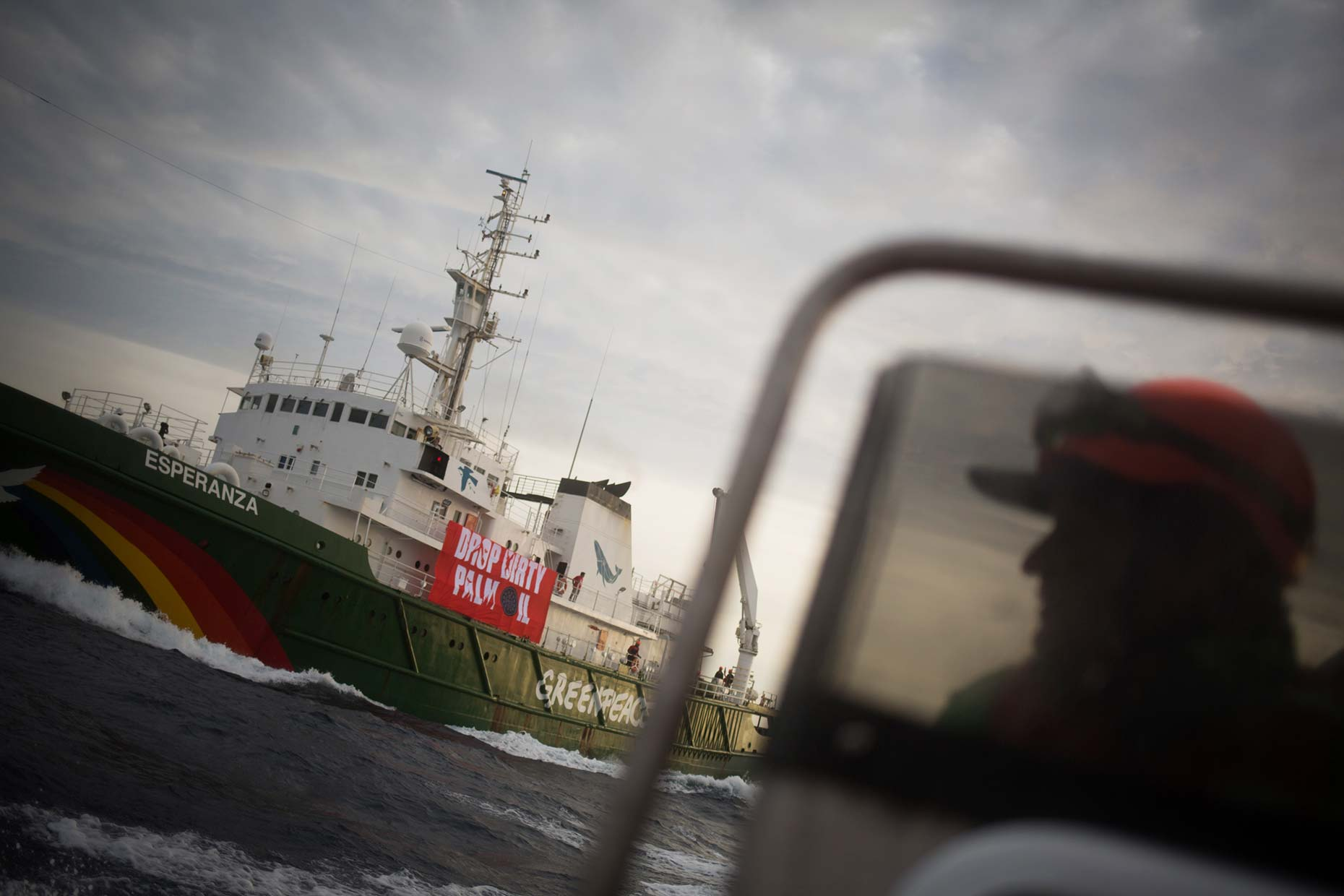 Greenpeace ships at sea, by Scotland photographer