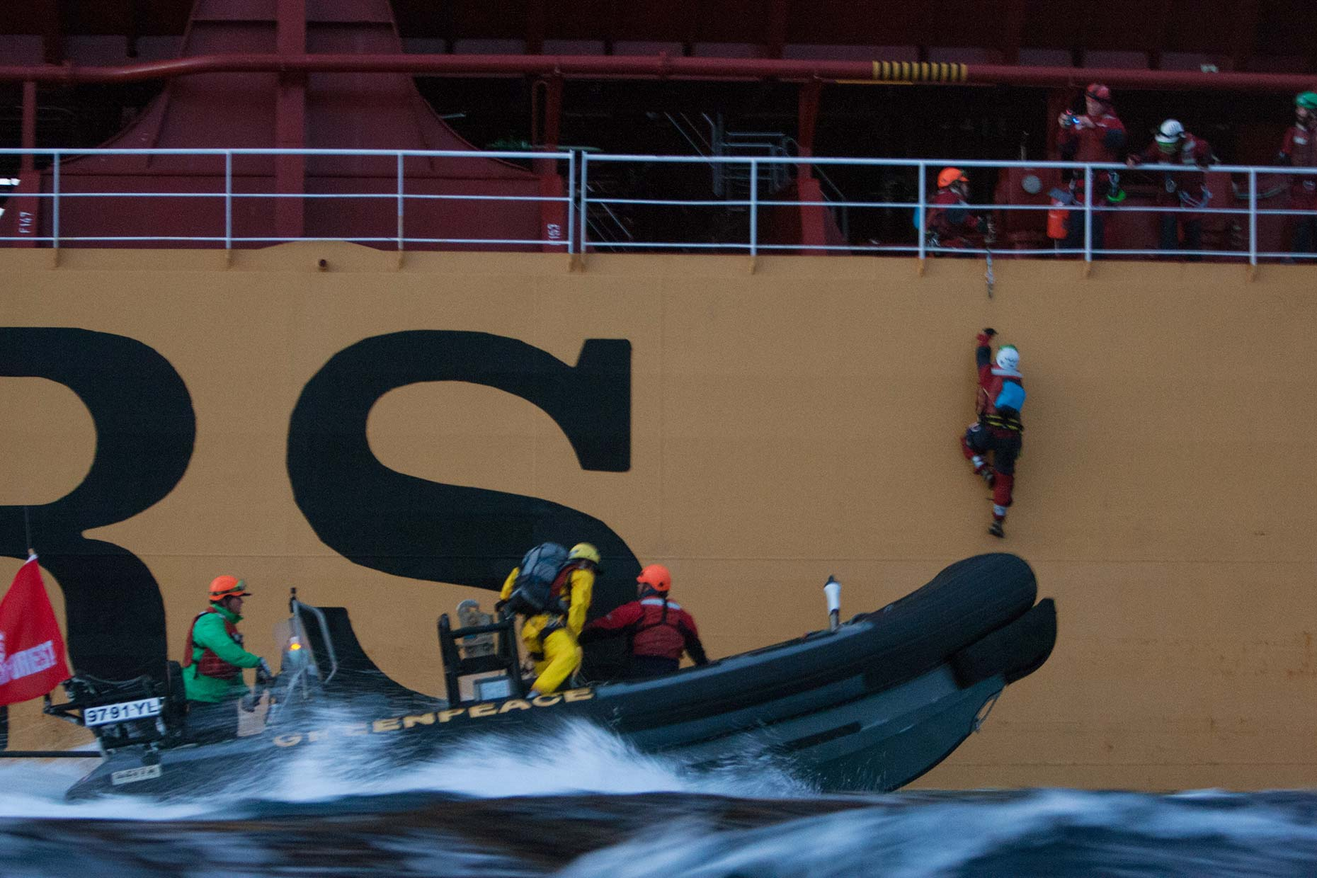 Palm oil protest at sea by Greenpeace environmentalists, by Scotland photographer