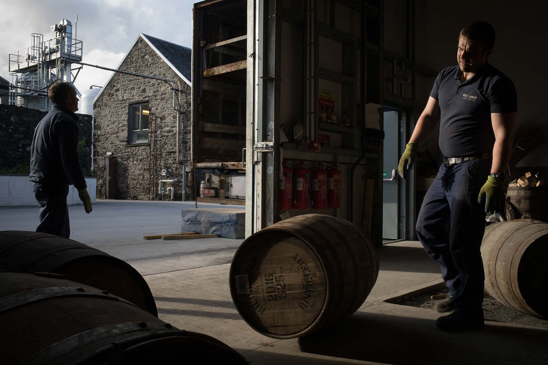 Unloading casks at Kilchoman single malt whisky, Islay, Scotland