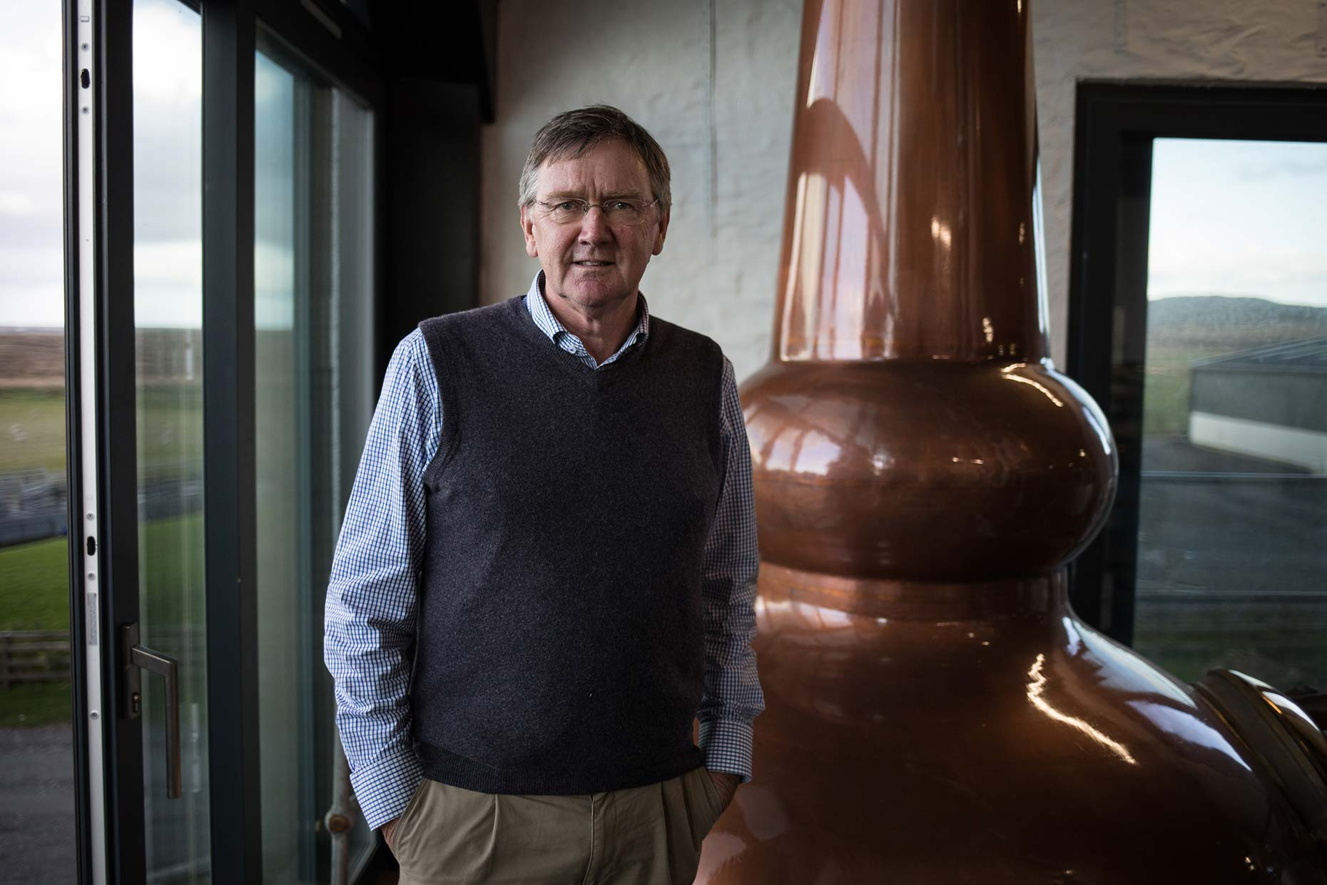 Anthony Wills, founder of Kilchoman single malt whisky distillery, Scotland