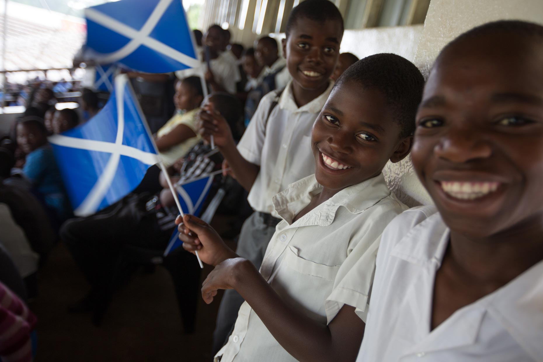 Malawi Children with Scotland flag, by Scottish photographer