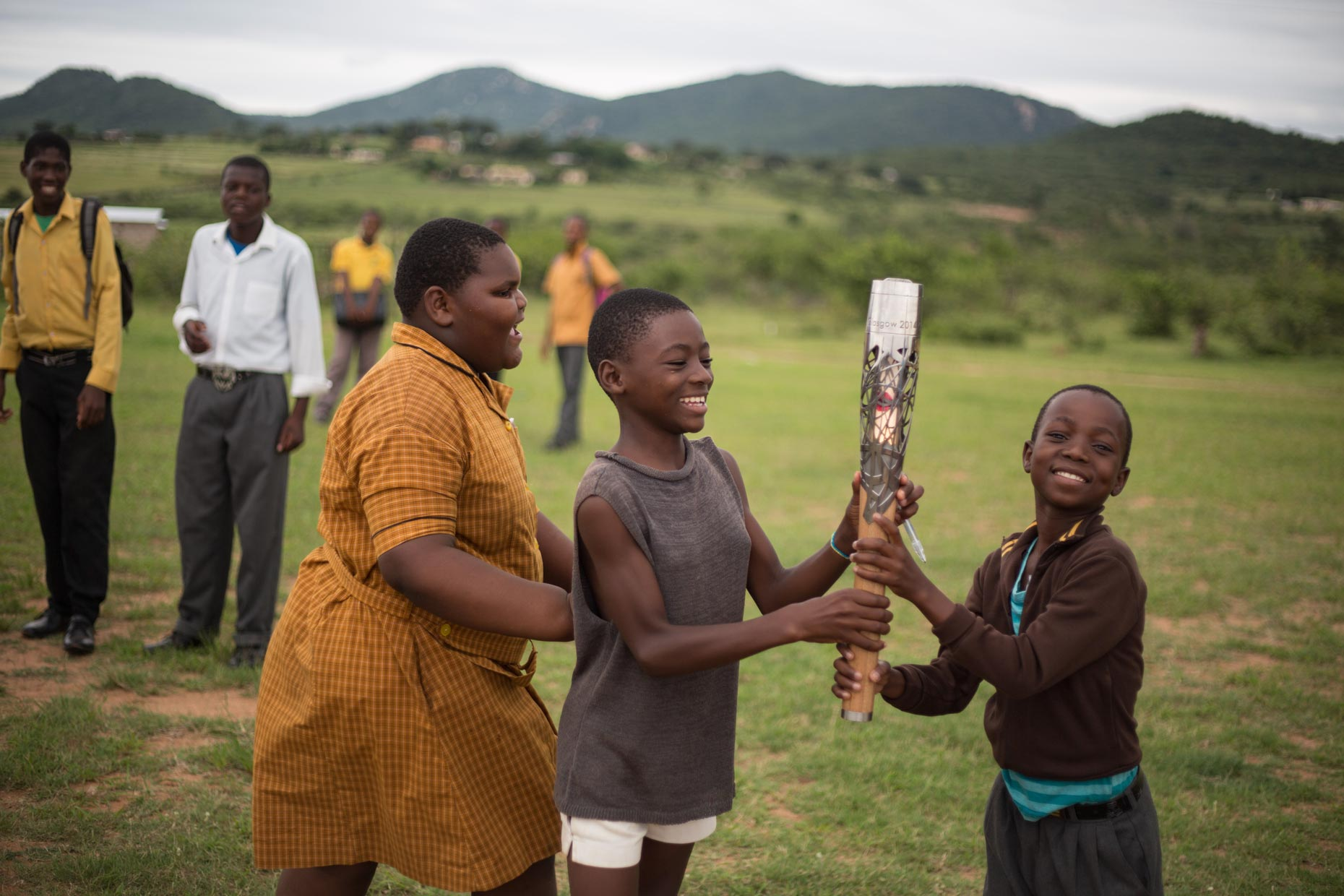 Children in Swaziland with Queen