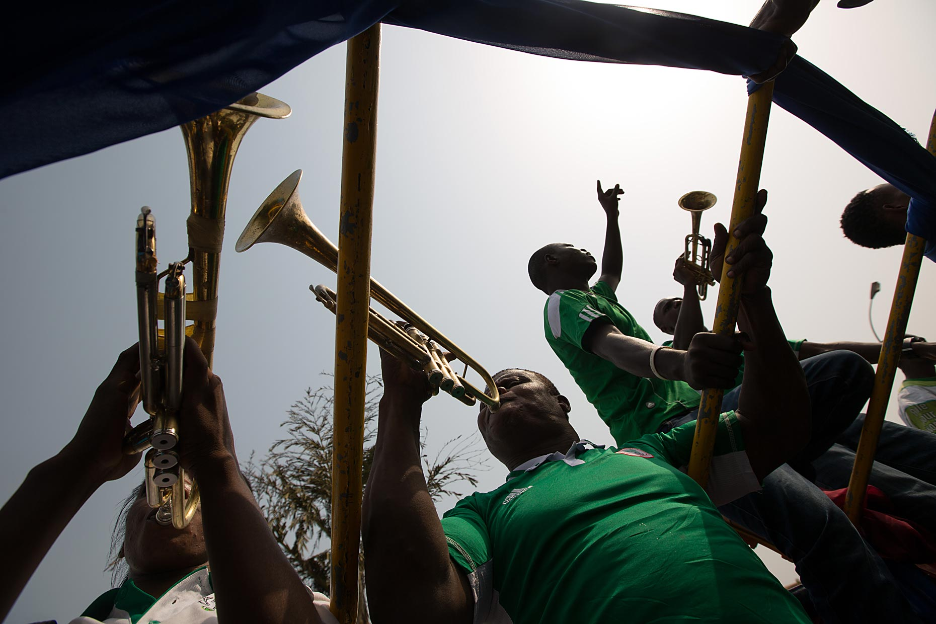 Trumpet players in Nigeria, by Scotland photographer