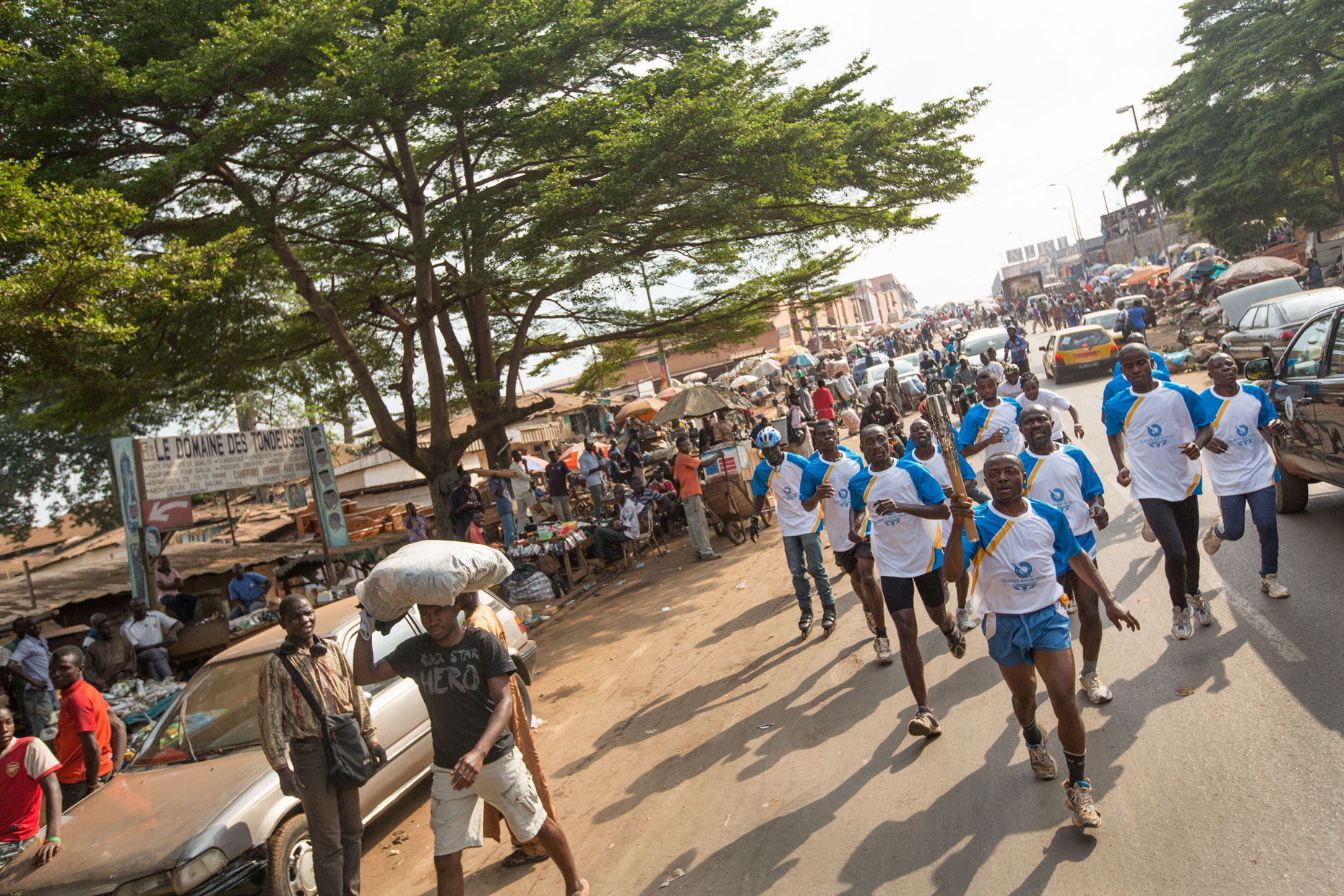 Runners in Yaounde Cameroon with Queen