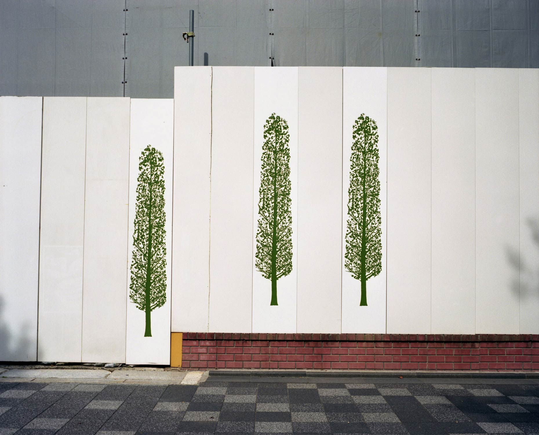 Billboards depicting trees and nature, Tokyo, Japan.