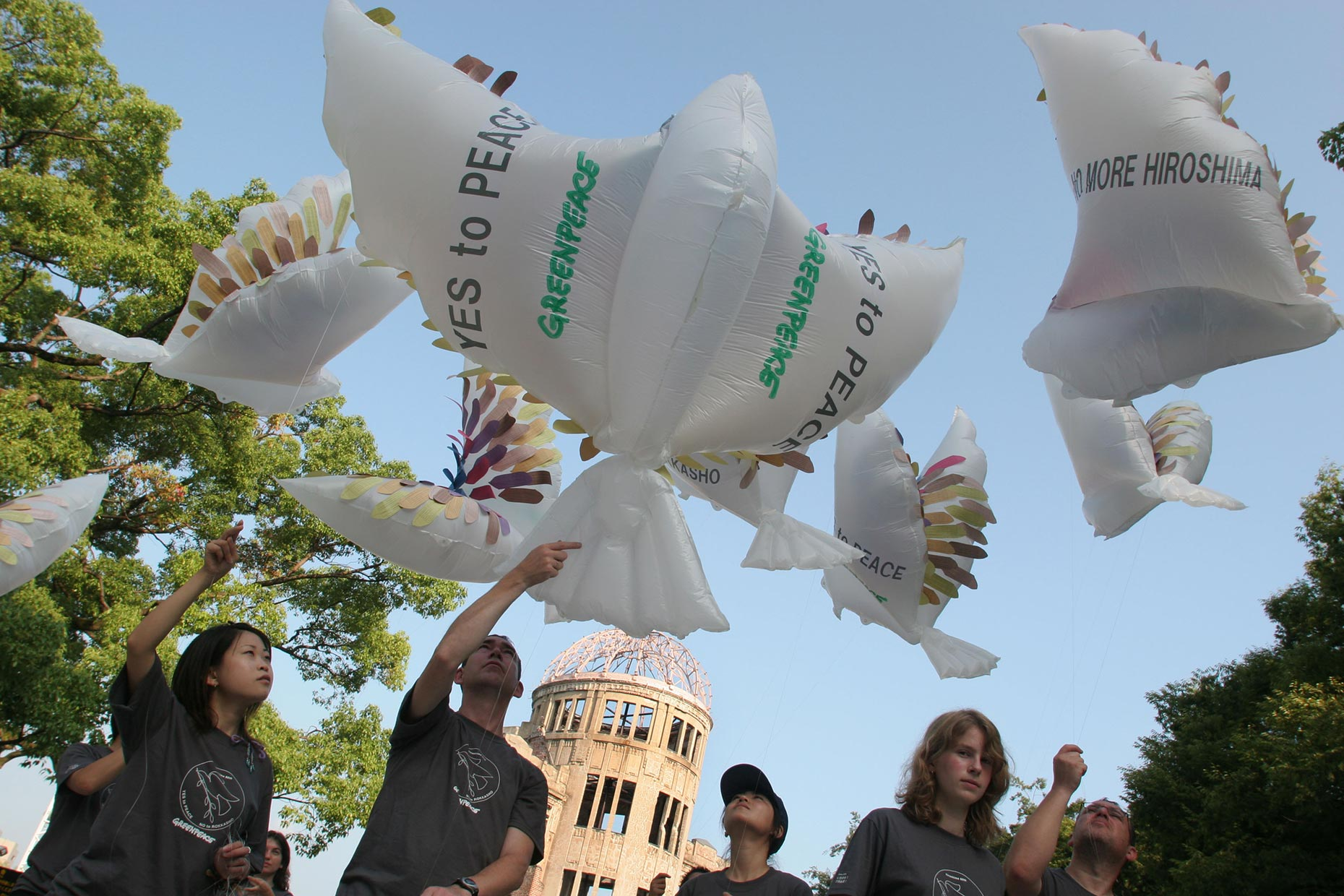 Peace dove action in Hiroshima, by Scotland Greenpeace photographer